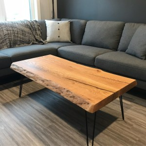 Custom living room table made with red oak
