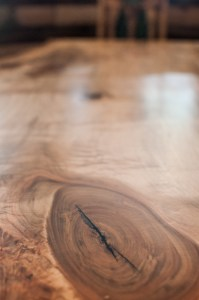Closeup of spalted maple custom table for Junction 59 Roadhouse