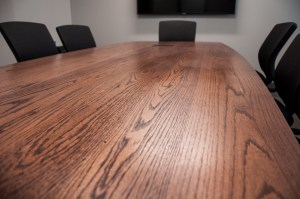 Closeup of Salvaged Red Oak Students Association Boardroom Table