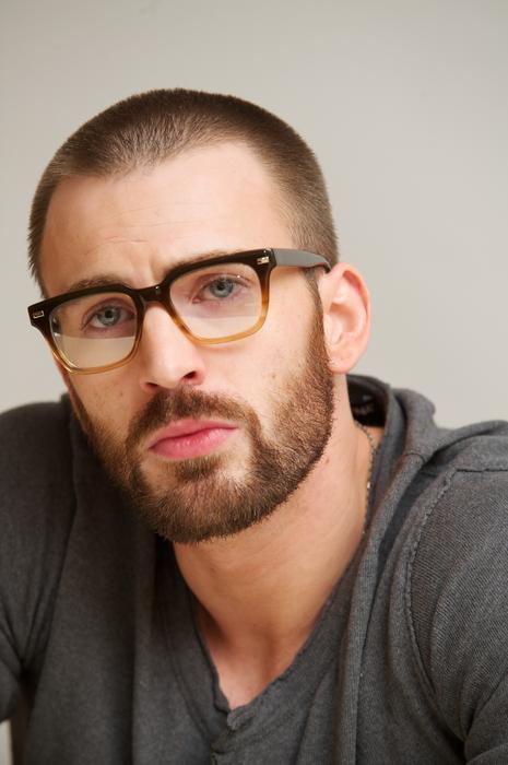 Chris Evans full beard with glass