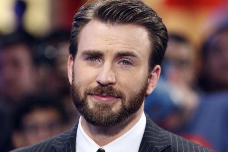 Chris Evans Full beard style with spiky hair