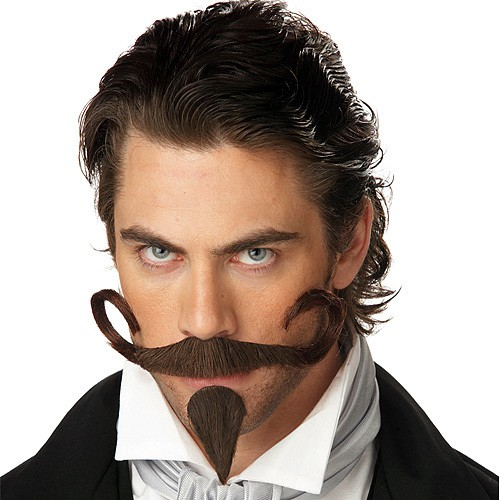 long French mustache with a petite goatee for men
