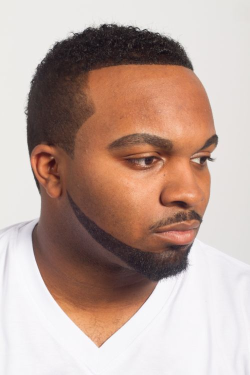 black men curly beard style