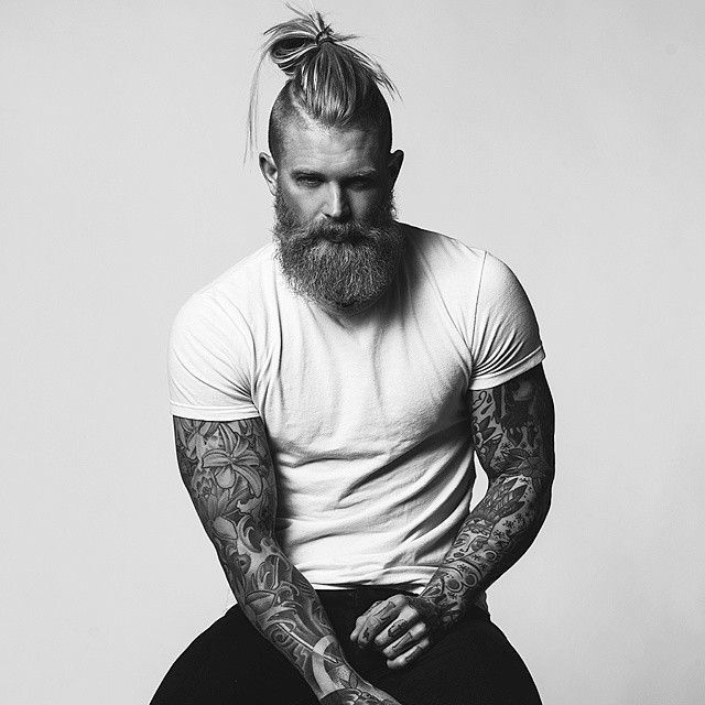 mens Bun with Beard style