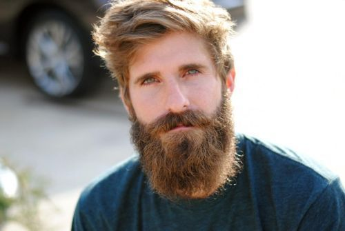 Blond with curly beard style for men