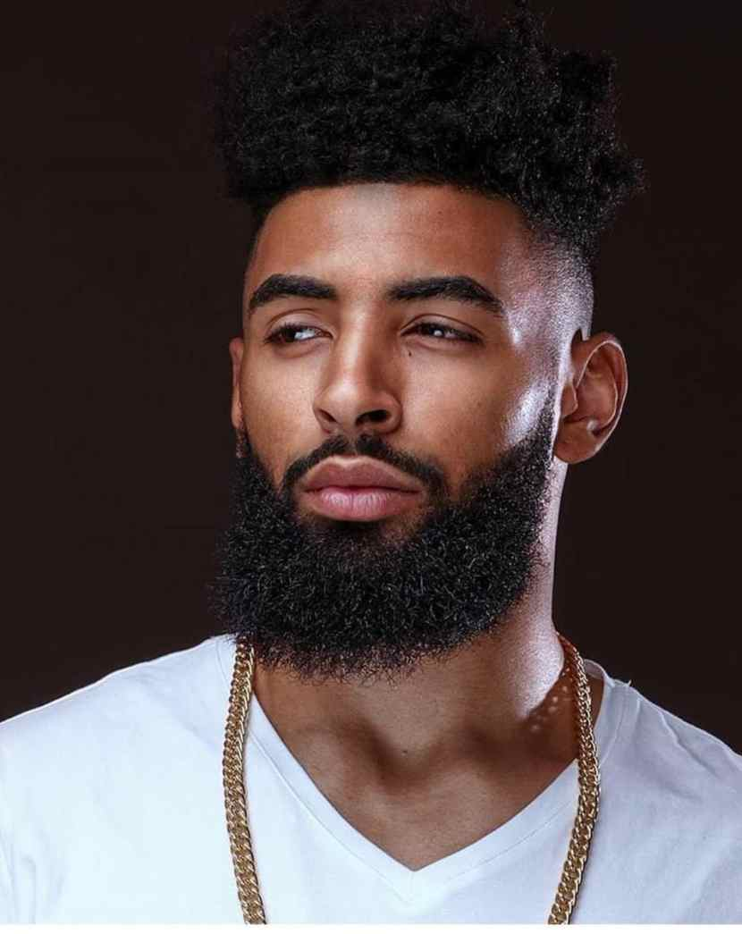 Black men long beard style