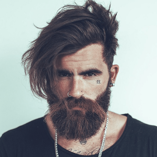 men with long hair and wild beard