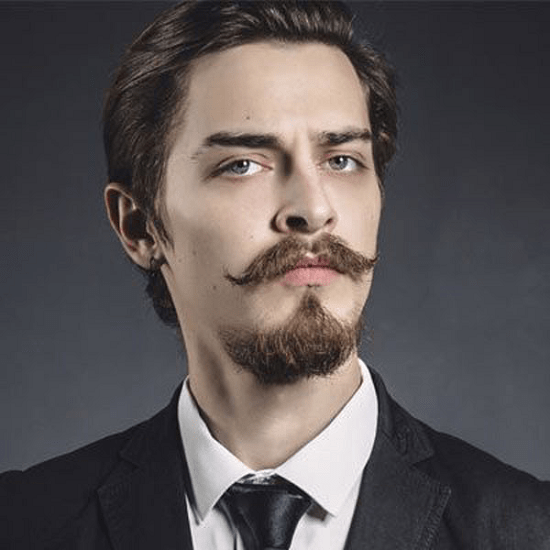 sleek hair with thick mustache