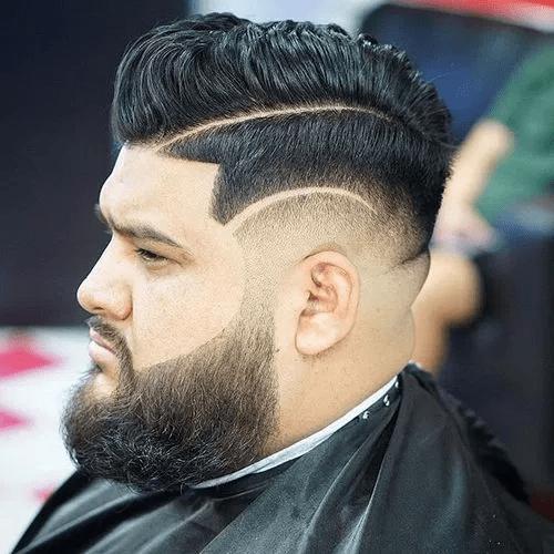 Line Sided Hair With A Full Beard