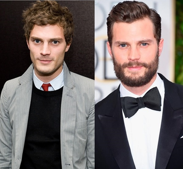 Jamie Dornan with and without beard