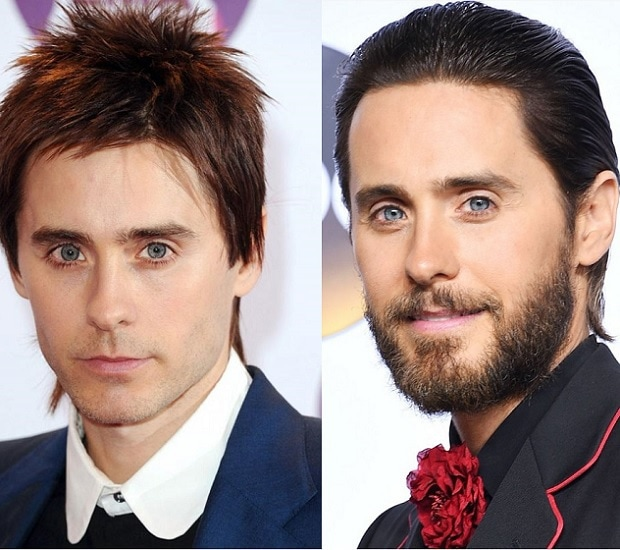 Jared Leto with and without beard