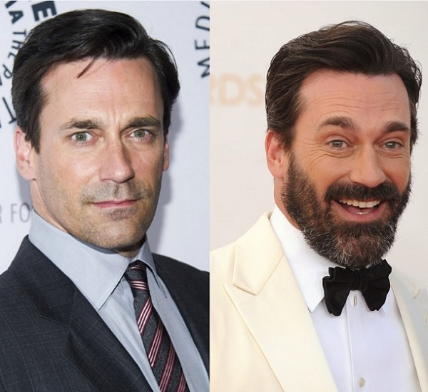 Jon Hamm with and without beard