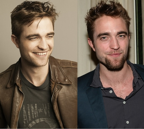 Rob Pattinson with and without beard