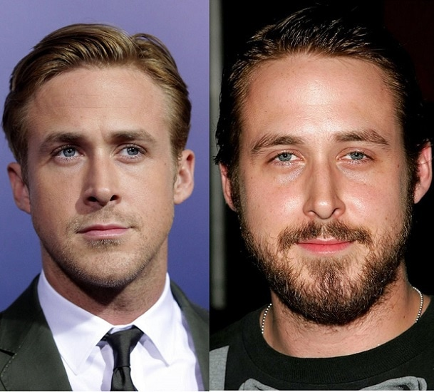 Ryan Gosling with and without beard