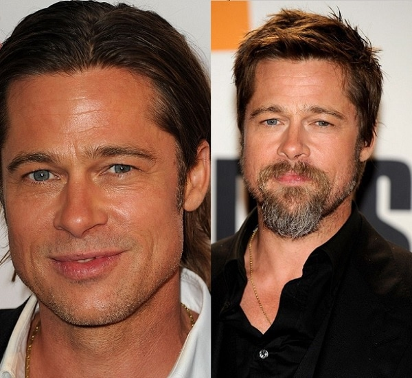 Bead Pitt with and without beard