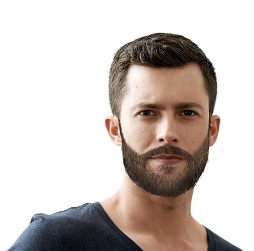 side beard in oval face