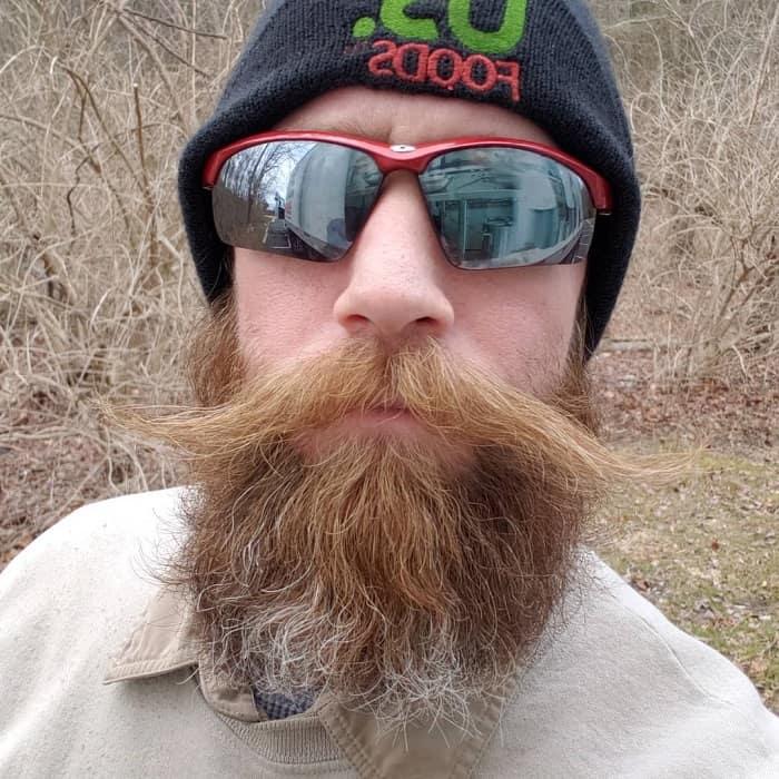blonde handlebar mustache
