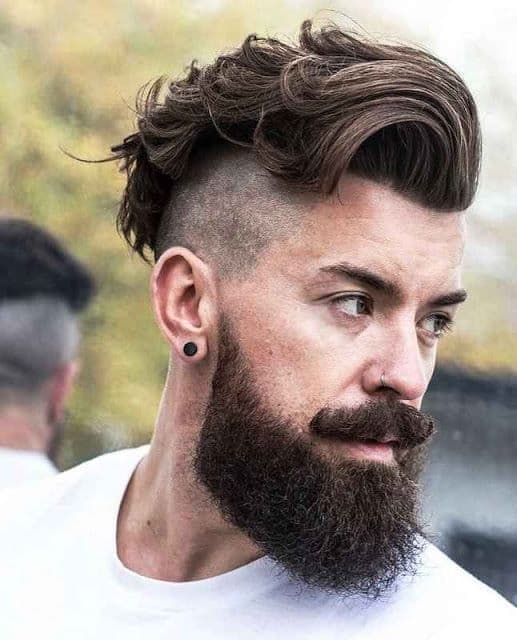 thick short haircut with beard