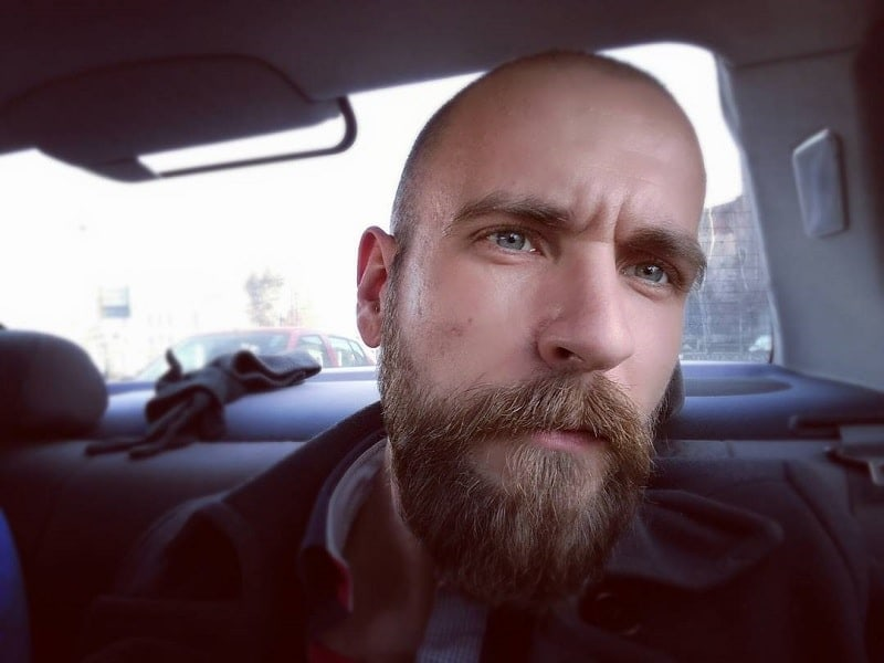 buzz cut style with rough beard