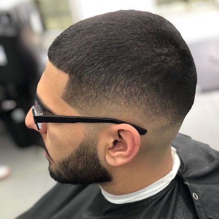 beard with clean buzz cut