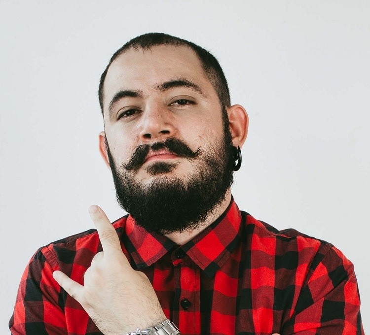 buzz cut with beard and mustache