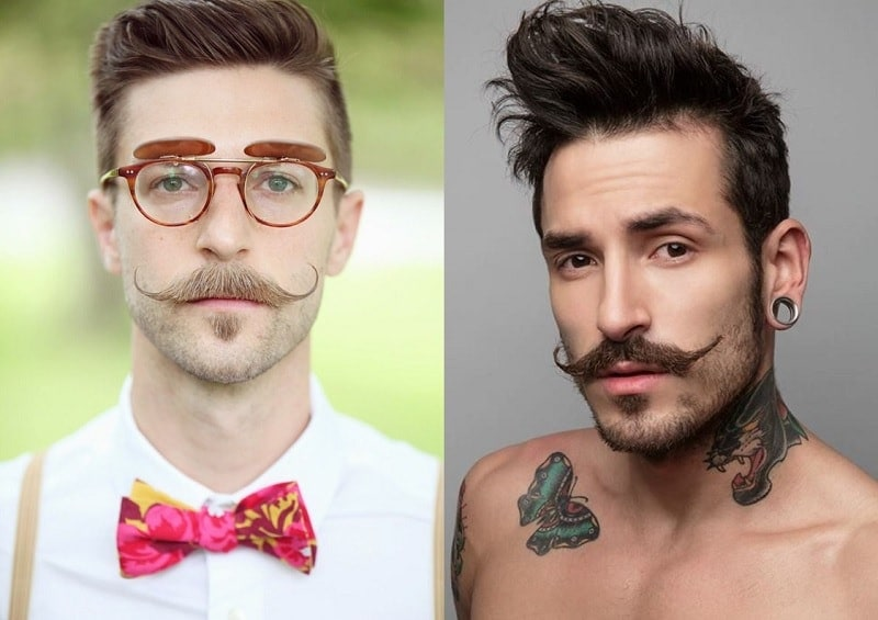 stubble beard with long pointed mustache