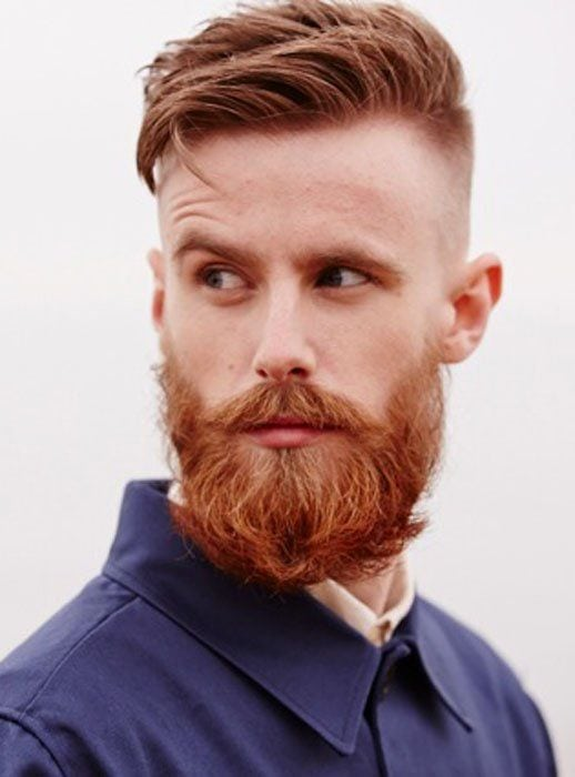 Short Brown Hair with Full Red Beard