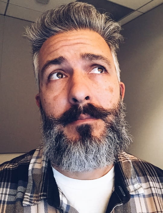 gray beard with handlebar mustache