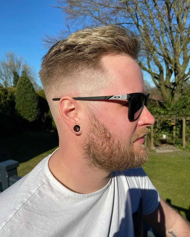 bald fade with beard for white guy