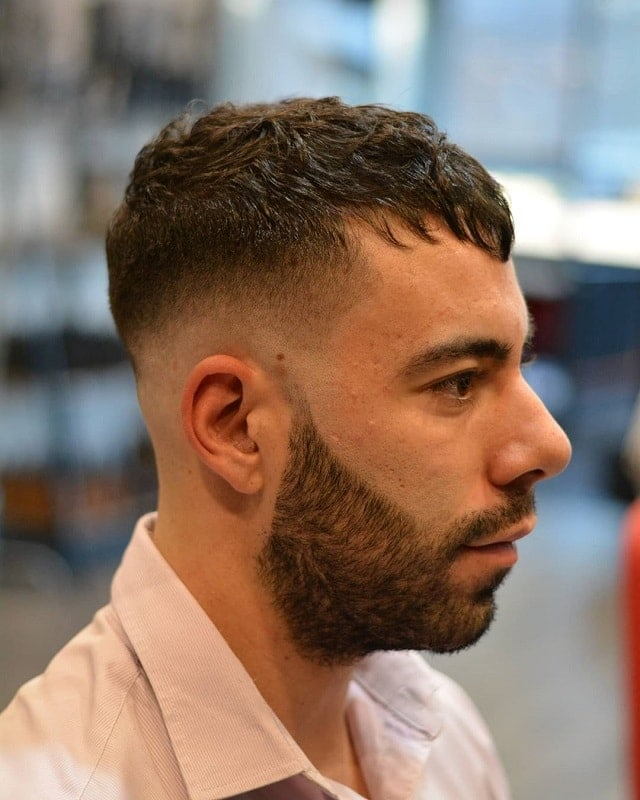 zero fade haircut with beard