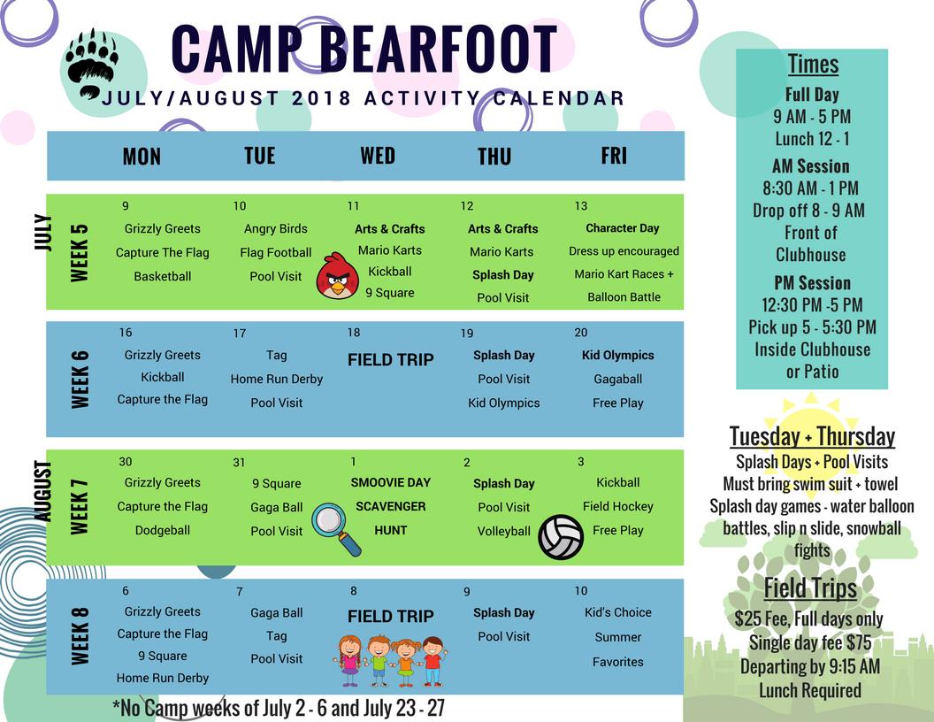 August 2018 Activity Calendar