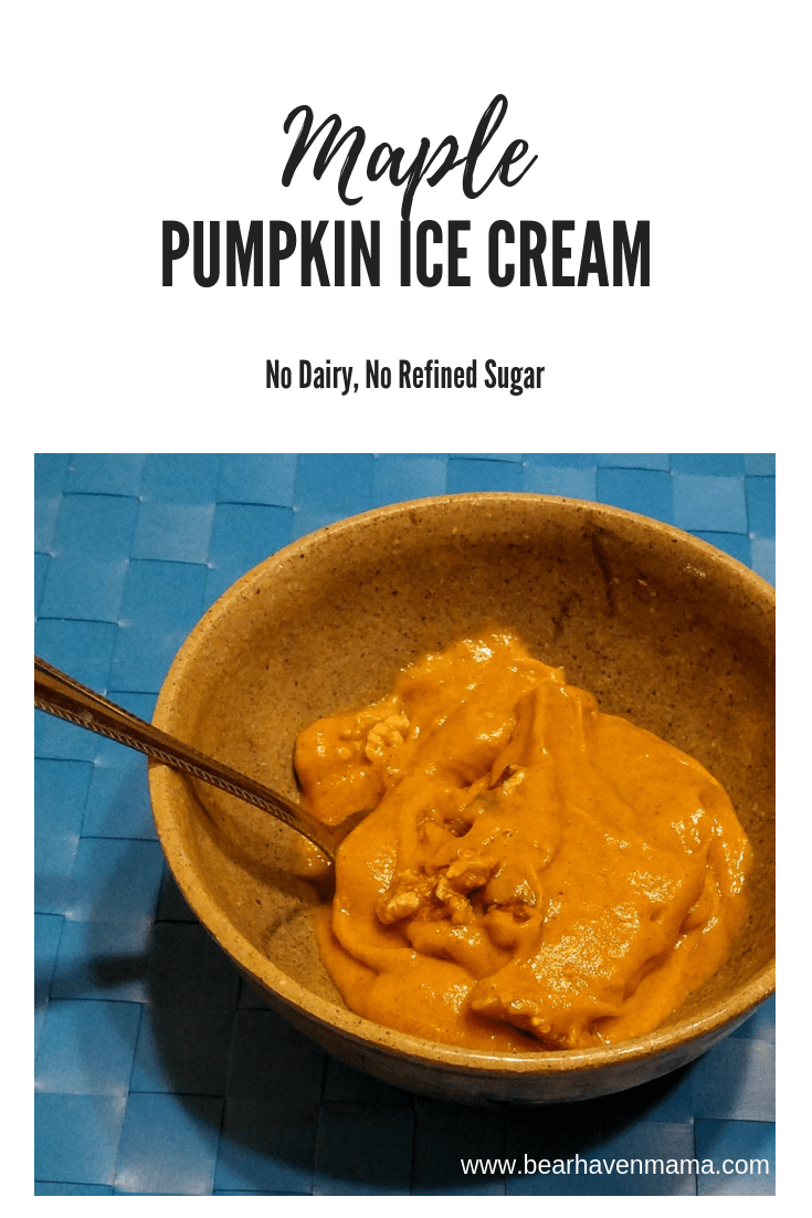Maple Pumpkin Ice Cream- no dairy, no refined sugar