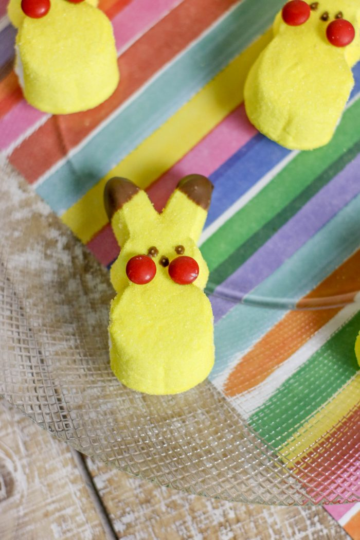 How to turn bunny Peeps into adorable Pikachu from Pokemon. These Pikachu Peeps are great for Pokemon Birthday Party food ideas or a fun treat for kids!