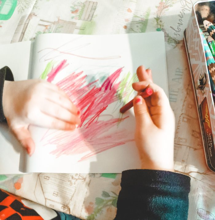 Crankles drawing Aurora Borealis after reading Captain No Beard