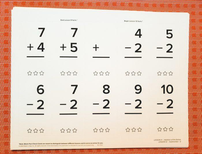 flash cards for AIM Math-U-See kit