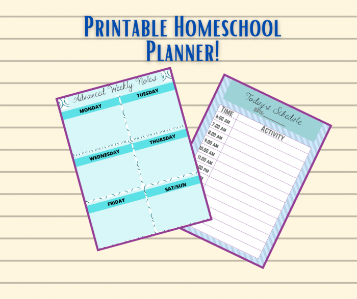 Need help staying organized for homeschool? Then use this free printable homeschool planner! It helps with lesson plans, assignments, reading logs, & more!