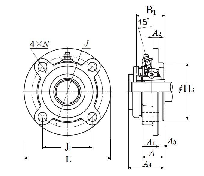 Four Bolt Round Flange Unit, Cast Housing, Adapter