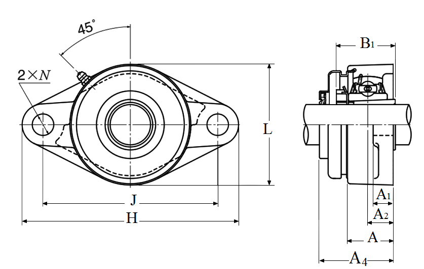 Two Bolt Rhombus Flanged Unit, Cast Housing, Adapter