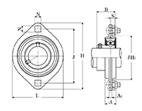Item # ASPFL202-010, Two Bolt Rhombus Flanged Unit