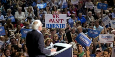 Democratic presidential candidate Sen. Bernie Sanders, I-Vt., speaks at a campaign rally, Monday, July 6, 2015, in Portland, Maine. (AP Photo/Robert F. Bukaty)