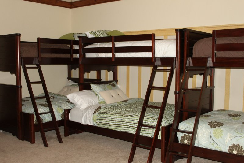 Suite #2 Bunk room has 4 twin over full beds to sleep 12