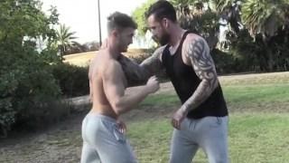 Tattooed and muscular Jordan hammering hard at Jakes ass