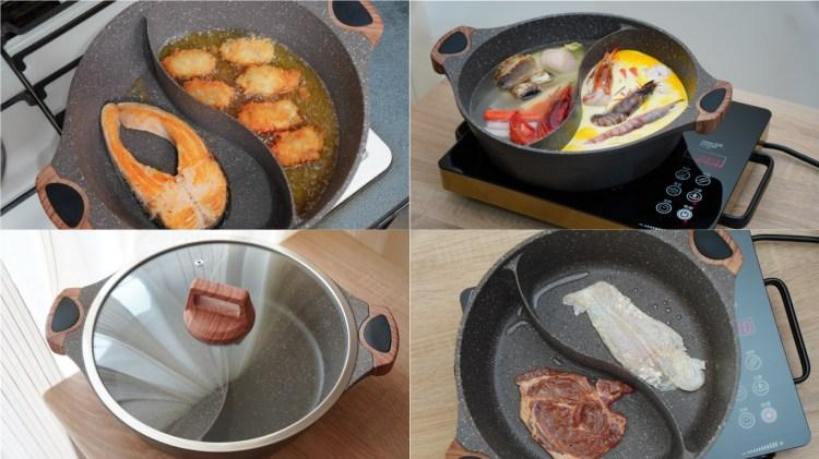 全台最低開團價-鍋寶大理石不沾鴛鴦鍋30cm(包含料理過程以及開箱影片)
