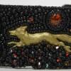 renard en laiton sur la manchette Black Betula