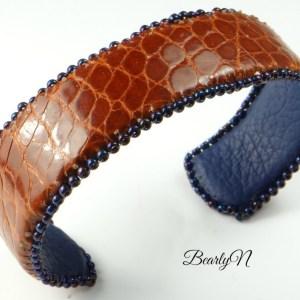 bracelet cuir crocodile et taurillon bleu_BearlyN