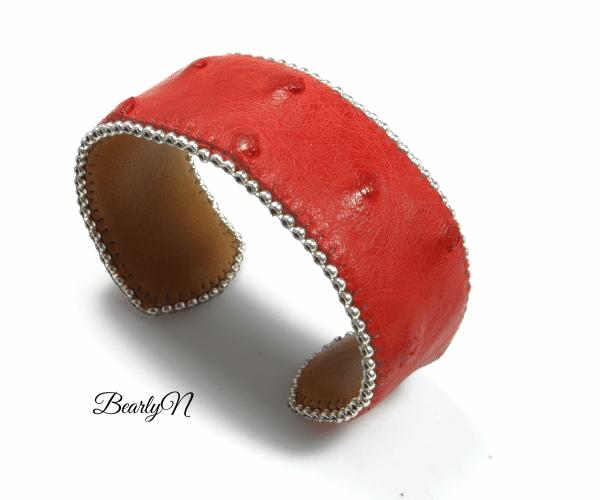 bracelet en cuir d'autruche rouge_BearlyN