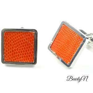 Boutons de manchette carrés lézard orange