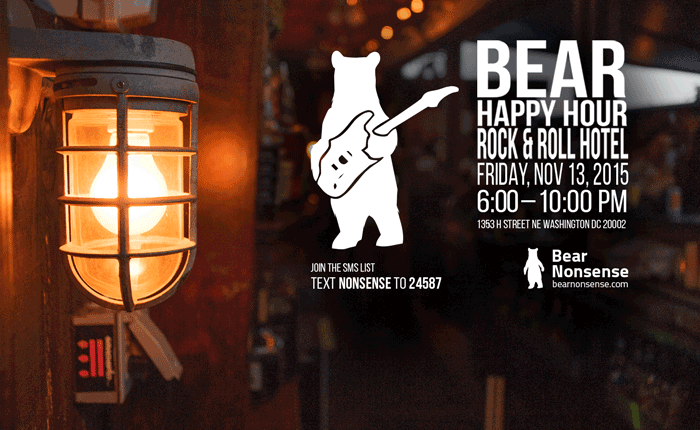 Bear Nonsense Bear Happy Hour at Rock & Roll Hotel – November 13