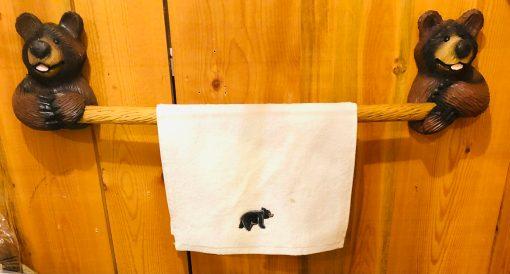 Wood Carved Bear Towel Rack