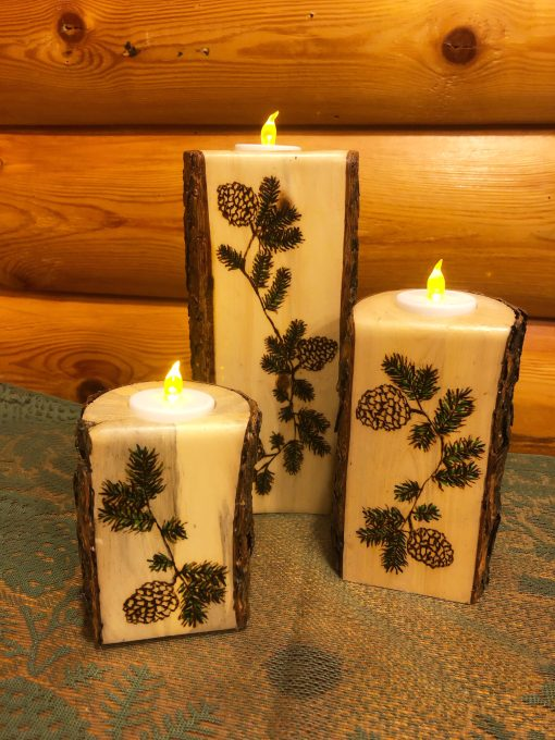 Trio Log Candle Holders